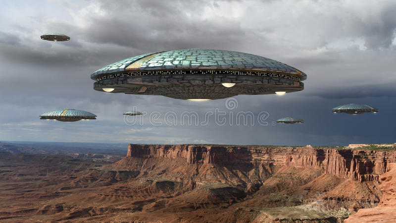 UFOinvasie over Grand Canyon royalty-vrije stock afbeelding