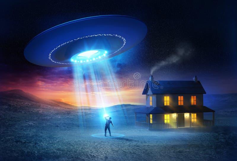 ufokidnappning royaltyfri illustrationer