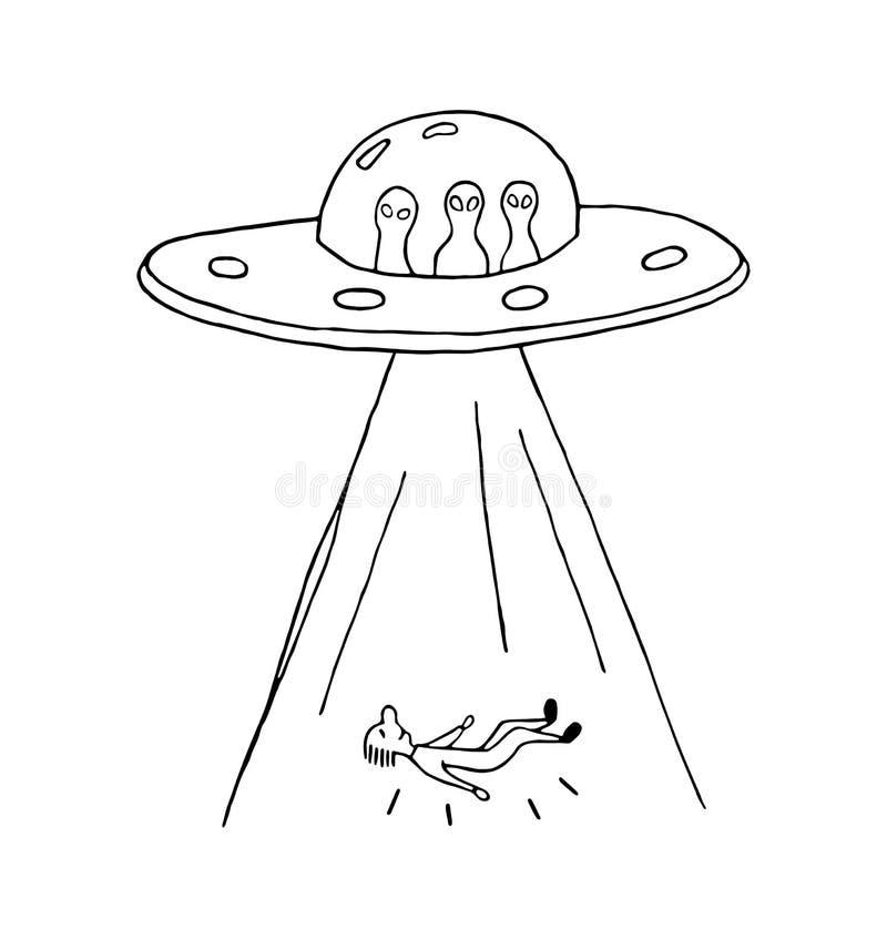 ufokidnappning av en människa med ufon royaltyfri illustrationer