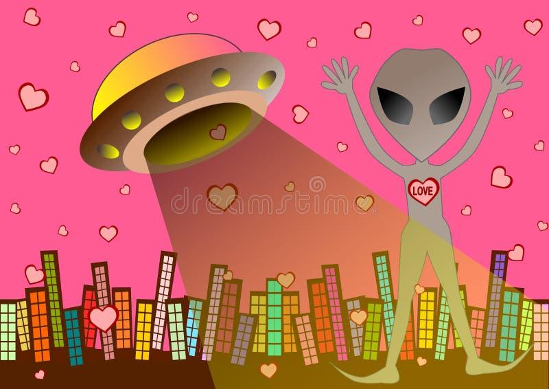 UFOvreemdeling in liefde achtergrondillustratie royalty-vrije illustratie