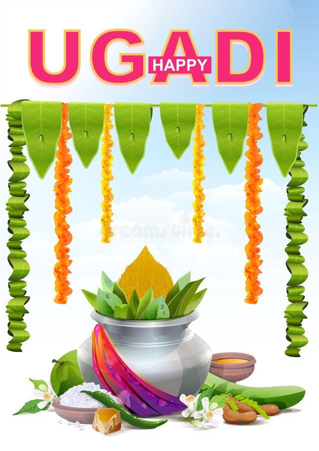 Ugadi feliz Tarjeta de felicitación de la plantilla para el día de fiesta Ugadi Pote de plata stock de ilustración