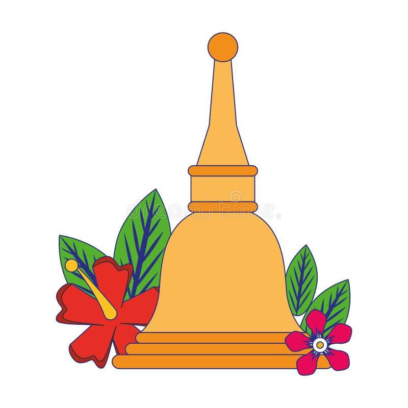 Ugadi-Glocke mit blauen Linien der Blumenkarikatur lizenzfreie abbildung