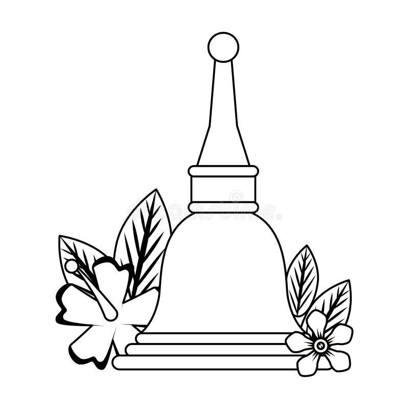 Ugadi-Glocke mit Blumenkarikatur in Schwarzweiss lizenzfreie abbildung