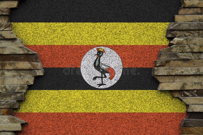 Uganda Flag Brick Wall Design Messenger Bag