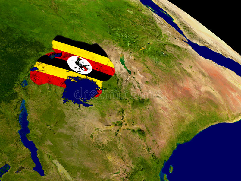 Uganda with flag on Earth. Map of Uganda with embedded flag on planet surface. 3D illustration. Elements of this image furnished by NASA stock illustration