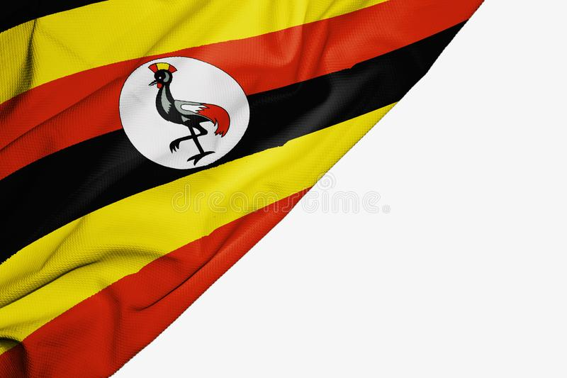 Uganda flag of fabric with copyspace for your text on white background. Africa banner best black capital colorful competition country ensign free freedom glory royalty free illustration