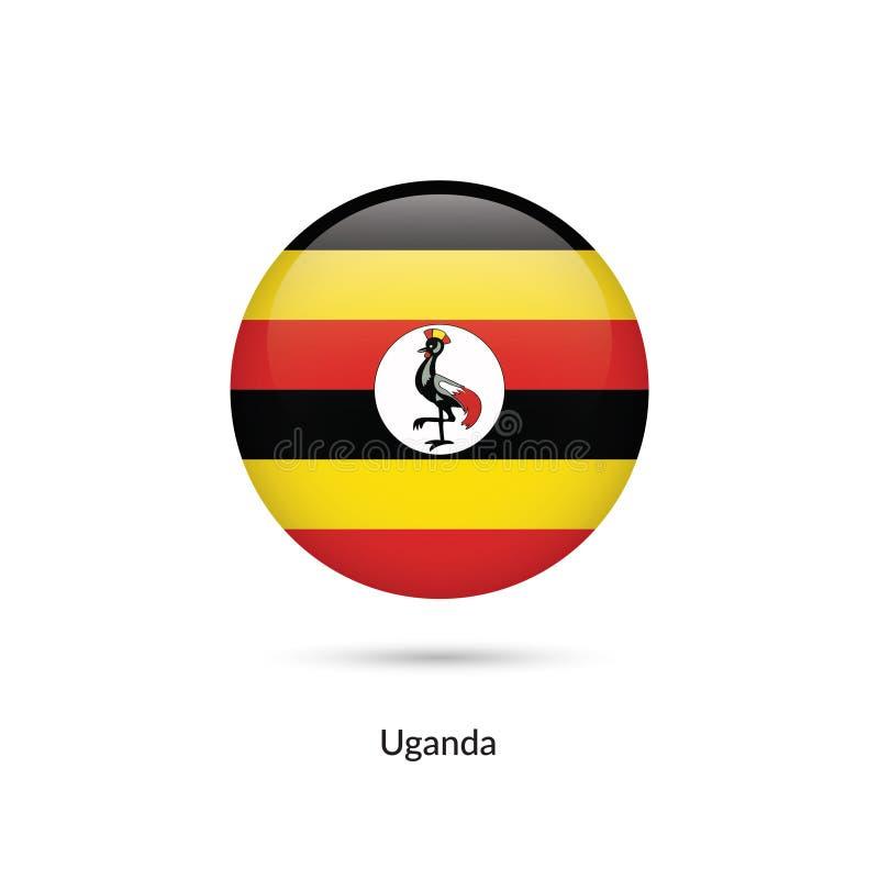 Uganda flagga - rund glansig knapp vektor illustrationer