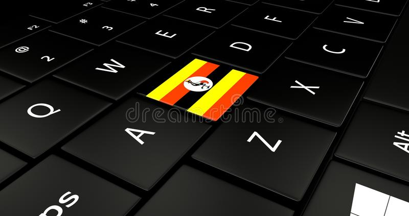 Uganda flaggaknapp på bärbar datortangentbordet arkivfoton