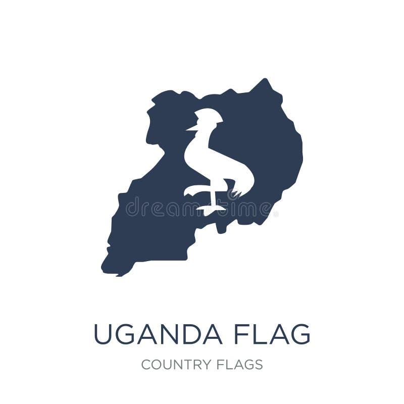 Uganda flaggasymbol  royaltyfri illustrationer