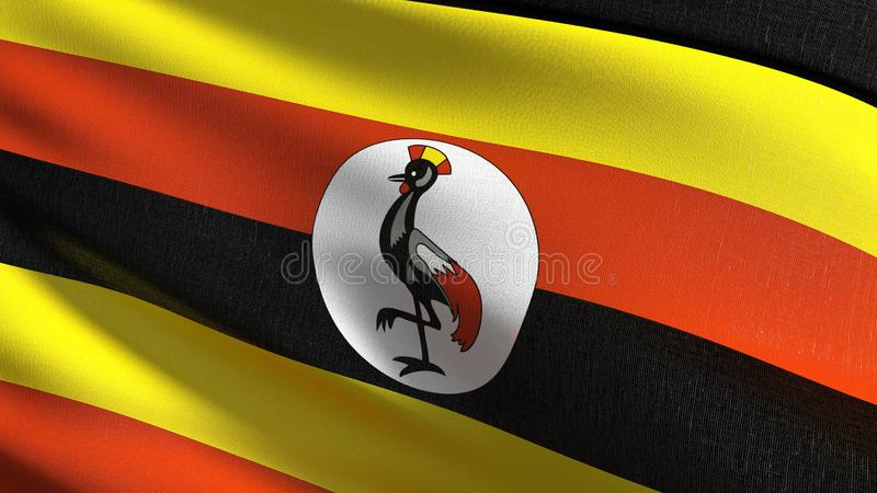 Uganda flagi państowowej dmuchanie w wiatrze odizolowywającym Oficjalny patriotyczny abstrakcjonistyczny projekt 3D renderingu il ilustracja wektor