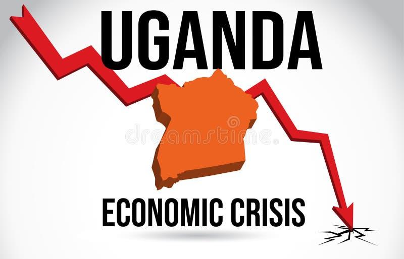 Uganda Map Financial Crisis Economic Collapse Market Crash Global Meltdown Vector. Illustration vector illustration