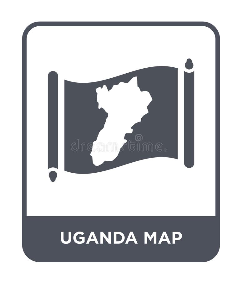 Uganda map icon in trendy design style. uganda map icon isolated on white background. uganda map vector icon simple and modern. Flat symbol for web site, mobile stock illustration