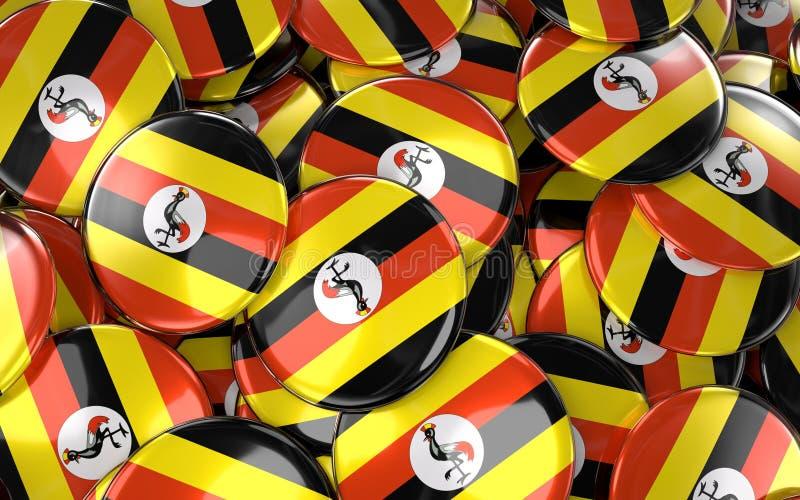 Uganda wird Hintergrund - Stapel von Ugandan-Flaggen-Knöpfen deutlich lizenzfreie abbildung