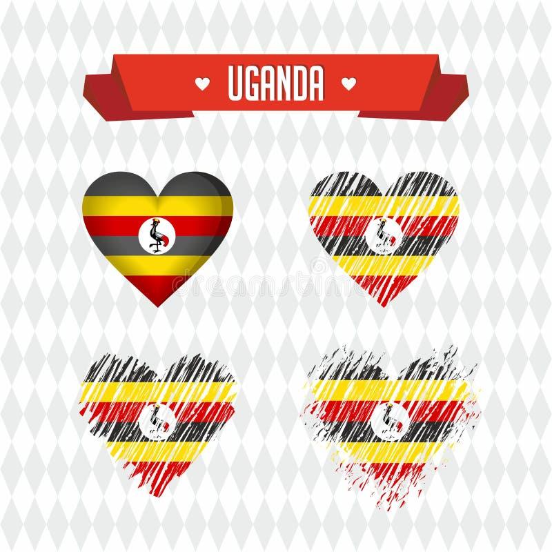 Uganda z miłością Projekta wektorowy złamane serce z flaga inside
