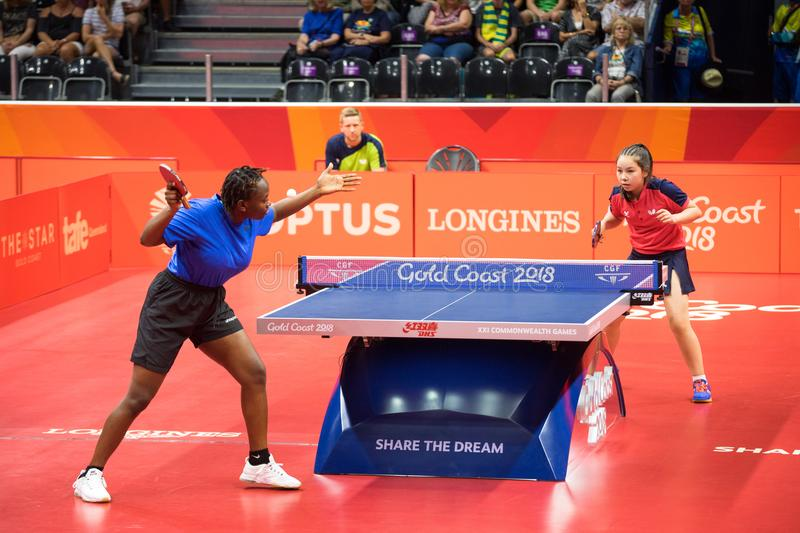 2018 Commonwealth Games Australia Table Tennis. Ugandan player Halima Nambozo playing against Wales table tennis player Anna Hursey during the 2018 Commonwealth stock photos