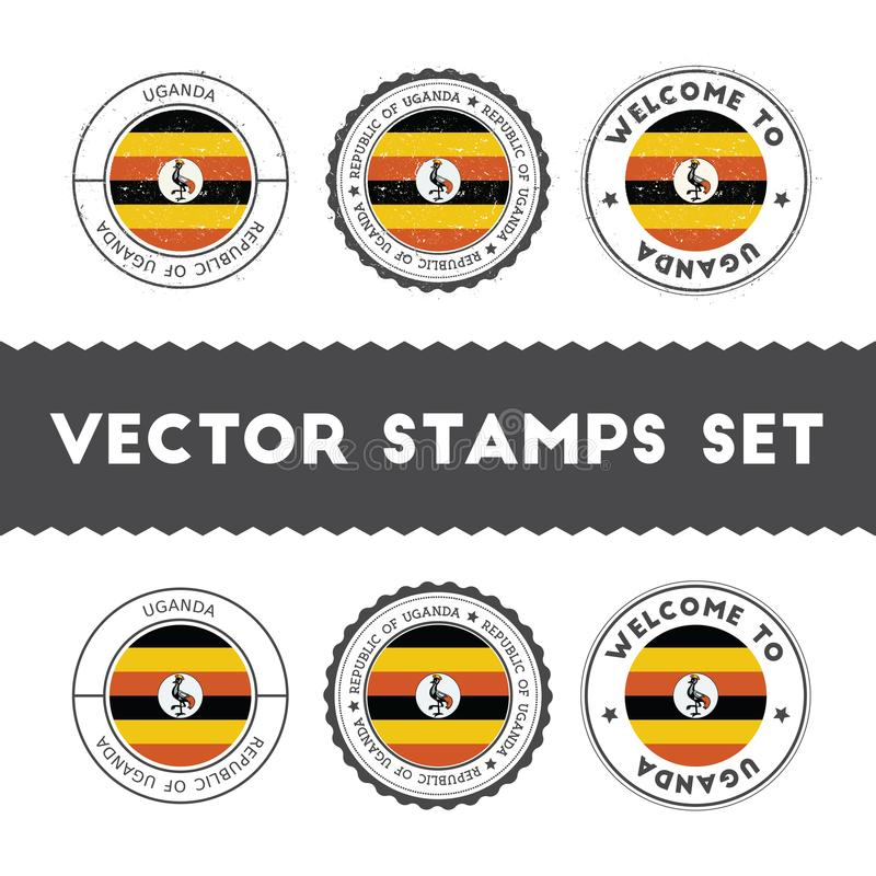 Ugandanflaggenstempel eingestellt vektor abbildung