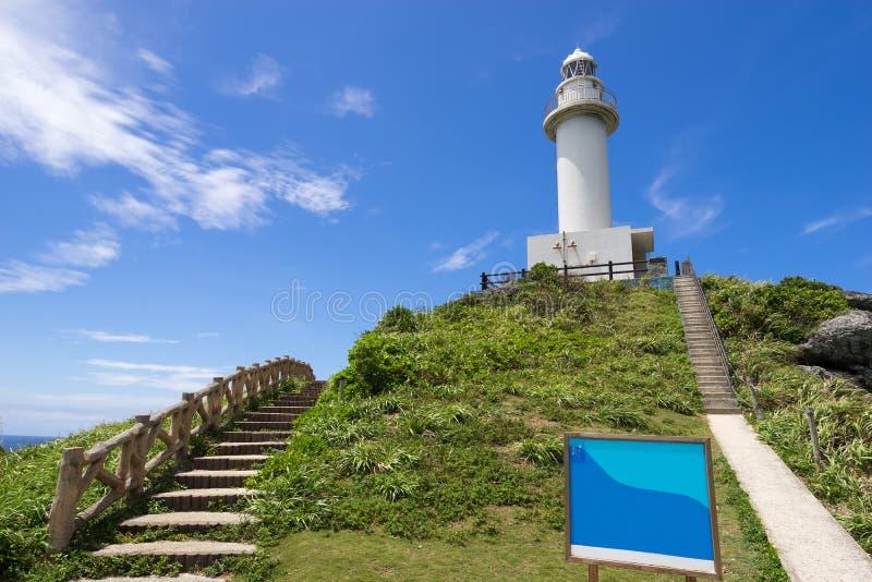 Uganzaki-Leuchtturm in Ishigaki-Insel, Okinawa Japan stockbilder