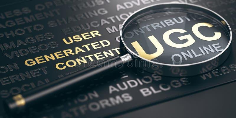 UGC, παραγμένο χρήστης περιεχόμενο Σε απευθείας σύνδεση έννοια μάρκετινγκ ελεύθερη απεικόνιση δικαιώματος