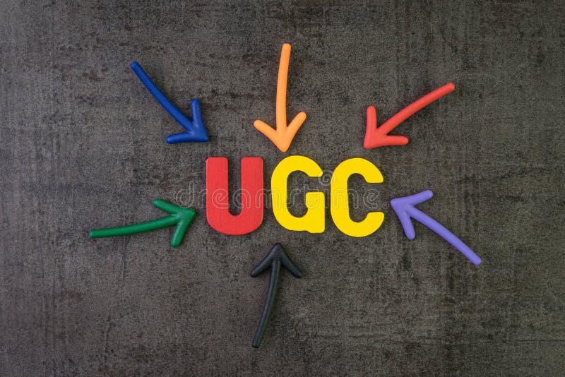UGC, użytkownik wskazuje słowo UGC wytwarzał zadowolony używać w gatunek reklamy online komunikacyjnym pojęciu, wielo- kolor strz fotografia royalty free
