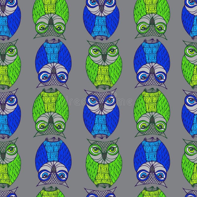 Uggla - illustration gulliga owls för tecknad film Barnsligt kort stock illustrationer