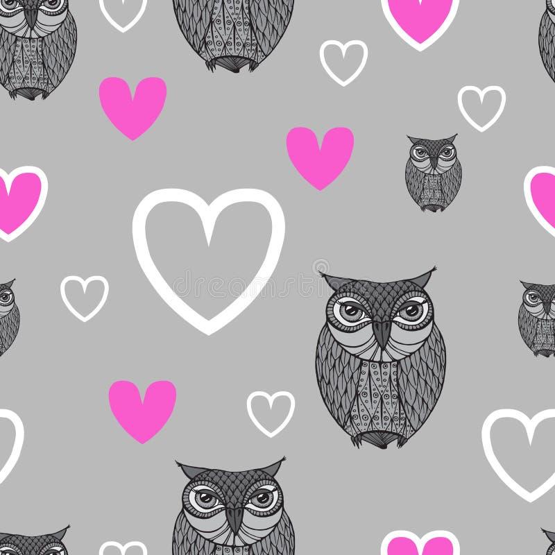 Uggla - illustration Gulliga tecknad filmugglor i vektor Barnsligt kort I stock illustrationer