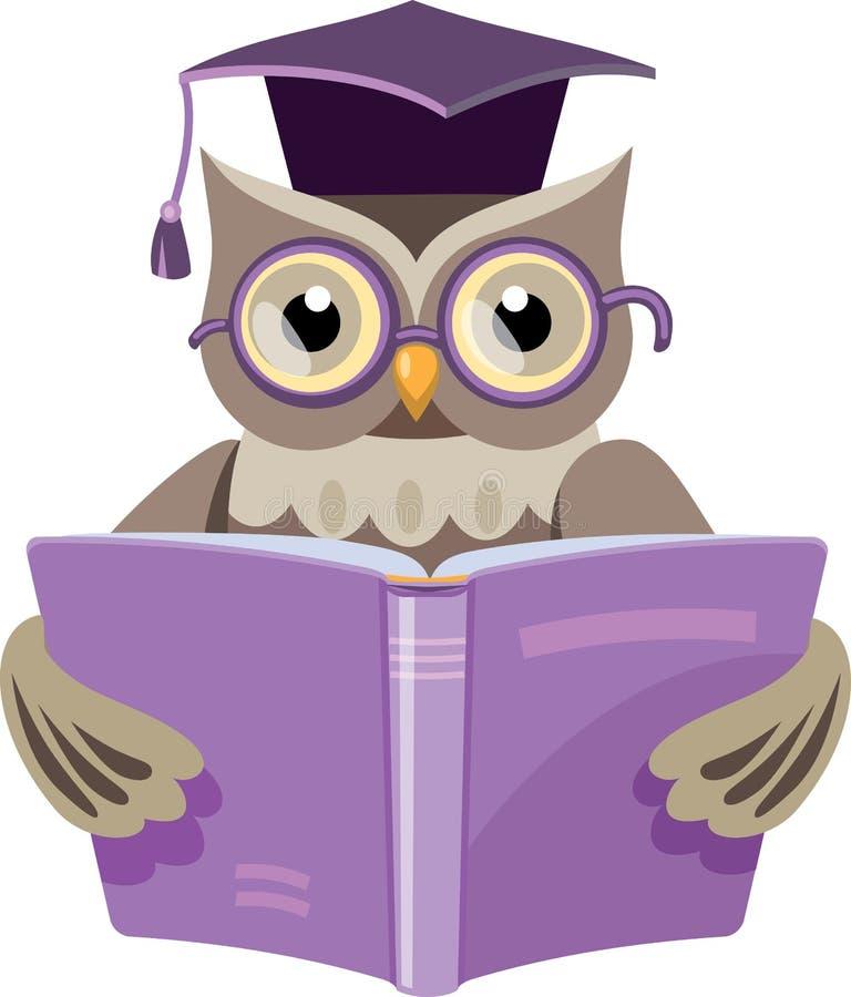 Uggla med böcker och det doktorand- locket vektor illustrationer