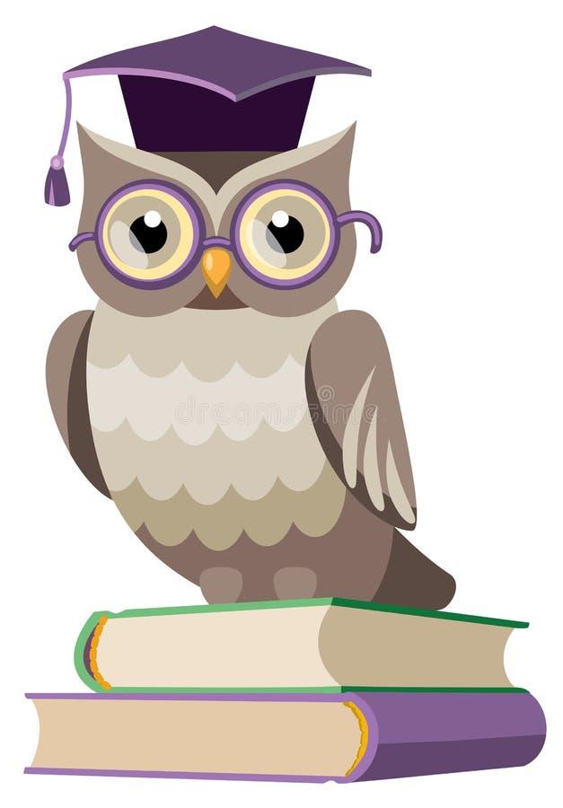Uggla med böcker och det doktorand- locket royaltyfri illustrationer