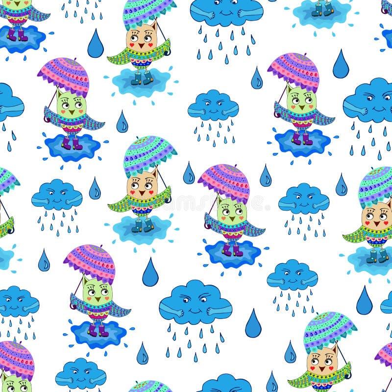 Uggla med paraplymodellen stock illustrationer