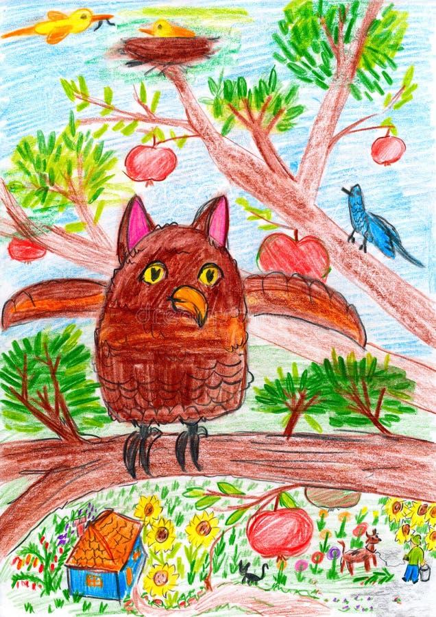 Uggla och annat fågelsammanträde på en trädfilial i byn - barnteckningsbild på papper royaltyfri illustrationer