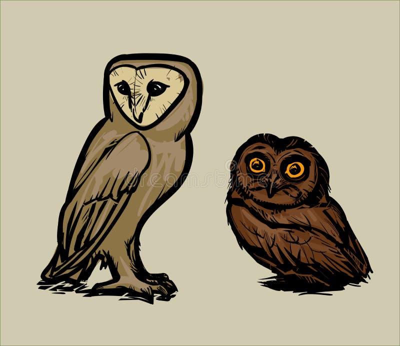 Uggla och uggleunge stock illustrationer