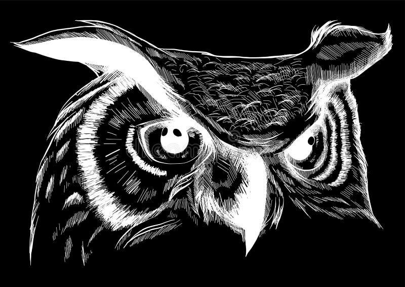 Uggla - vektorillustration Symbolsdesign på svart bakgrund royaltyfri illustrationer