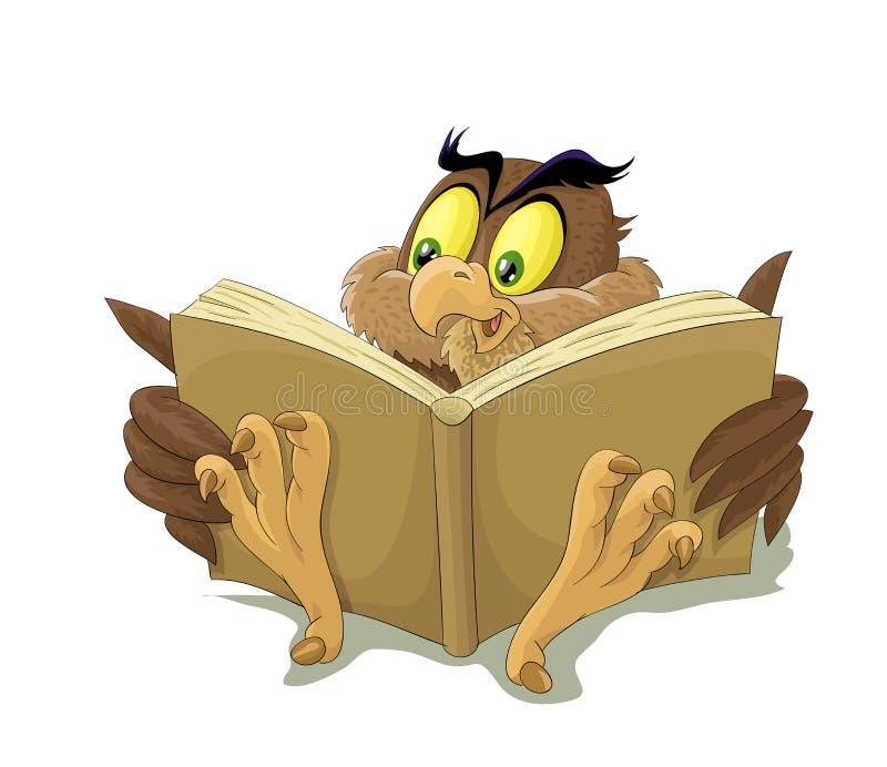 Ugglan läser boken royaltyfria foton