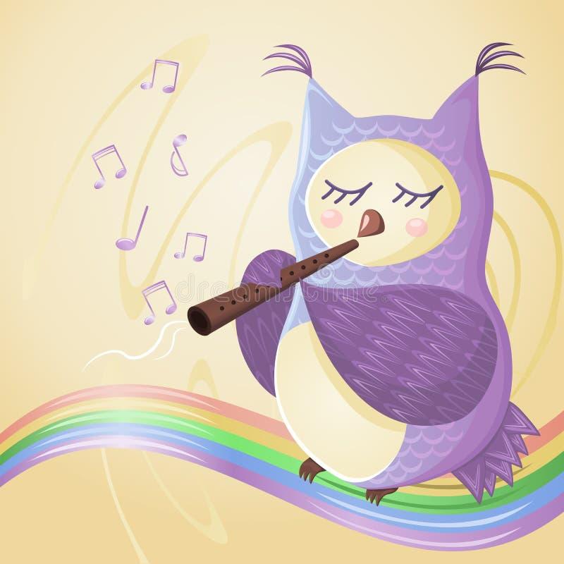 Ugglan spelar flöjten på regnbågen, musikaliska anmärkningar flyger runt om henne stock illustrationer