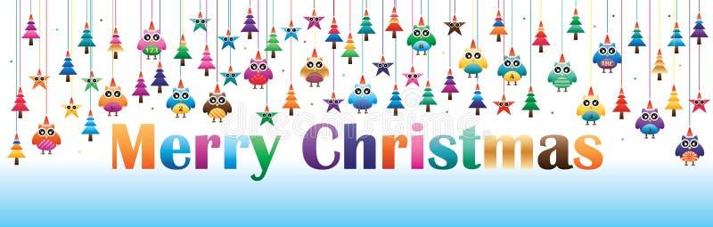 Ugglastjärnan sörjer jul fodrar hängningbanret vektor illustrationer