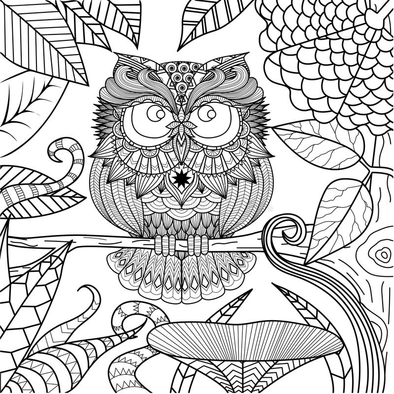 Ugglateckning för färgläggningbok stock illustrationer