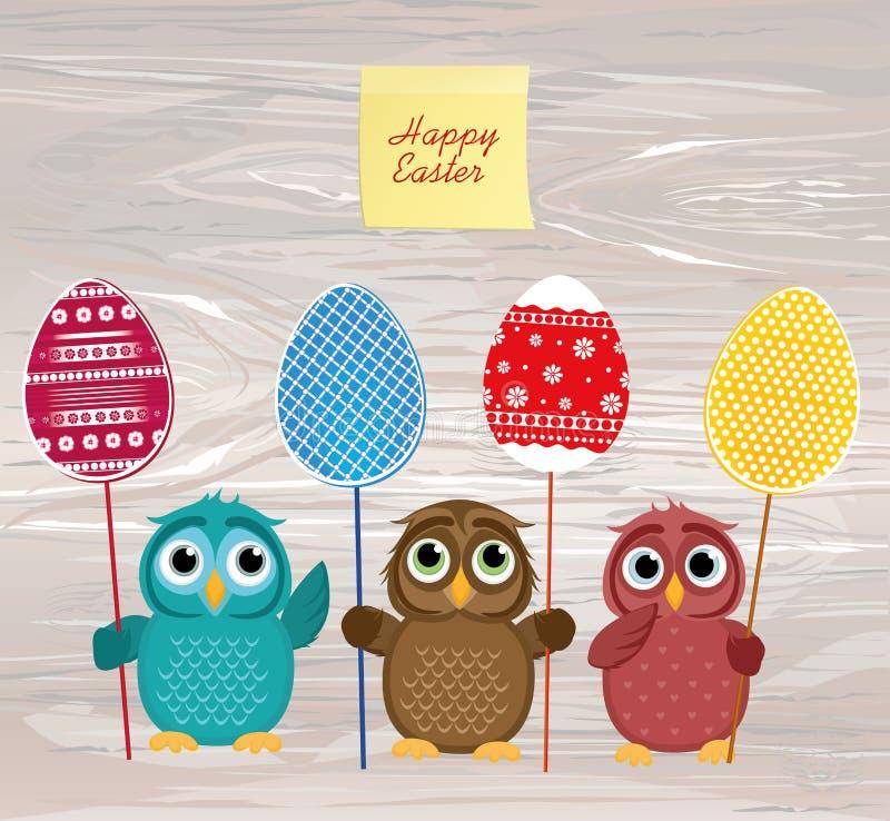 Ugglor håller påsken dekorerade ägg på en pinne mångfärgat tomt vektor illustrationer