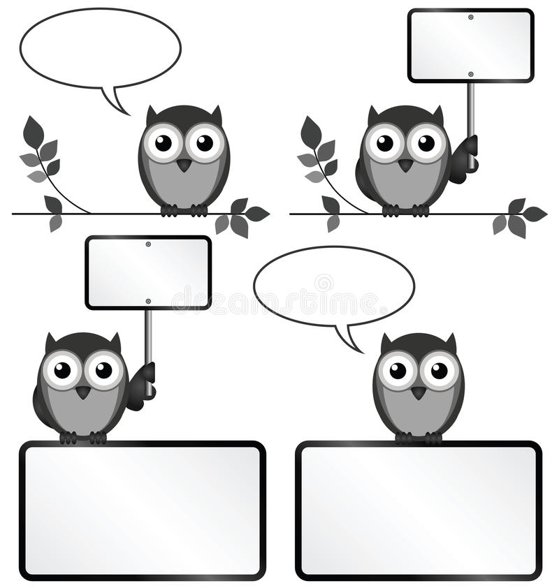 Ugglor med kopieringsutrymme vektor illustrationer