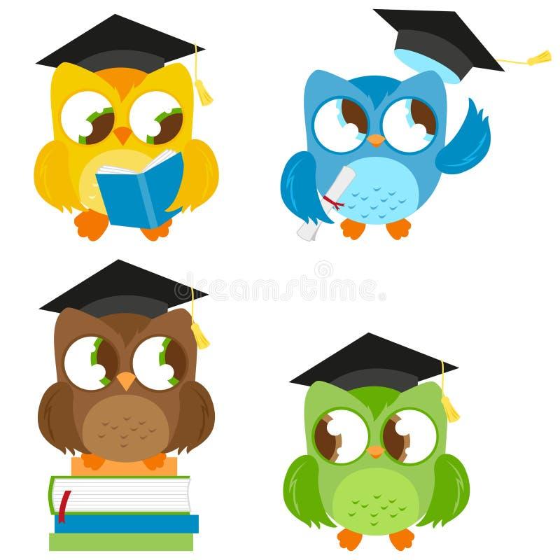 Ugglor med uppsättningen för avläggande av examenhattutbildning vektor illustrationer