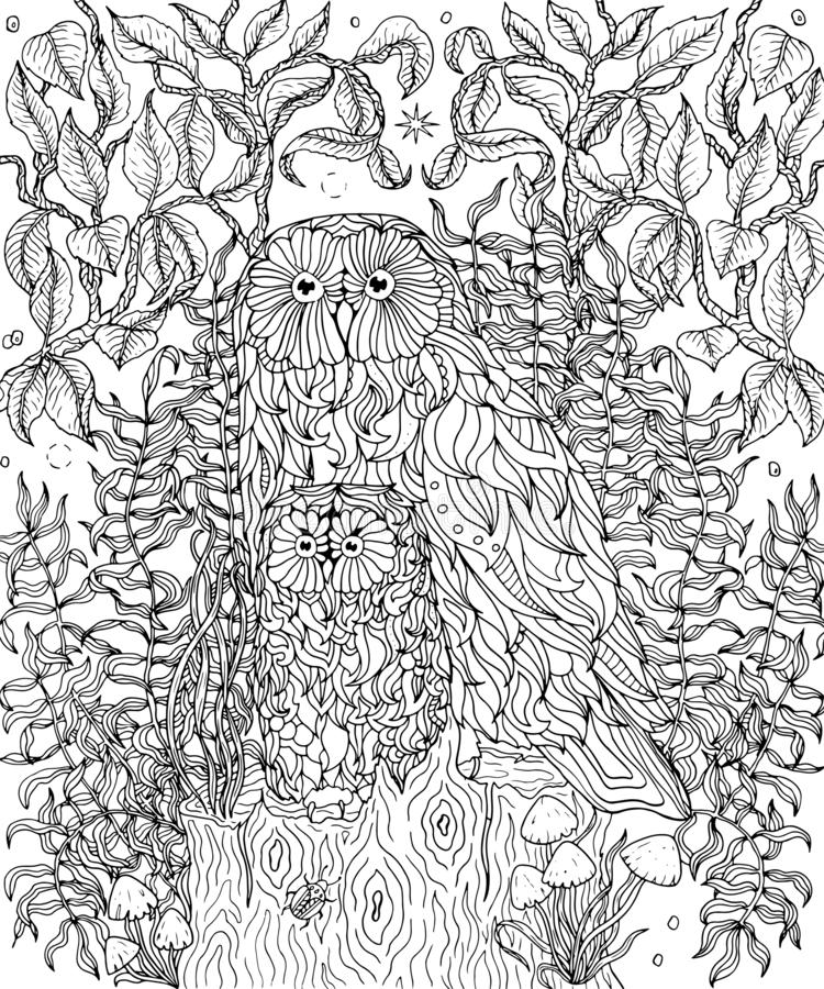 Ugglor som färgar sidan vektor illustrationer