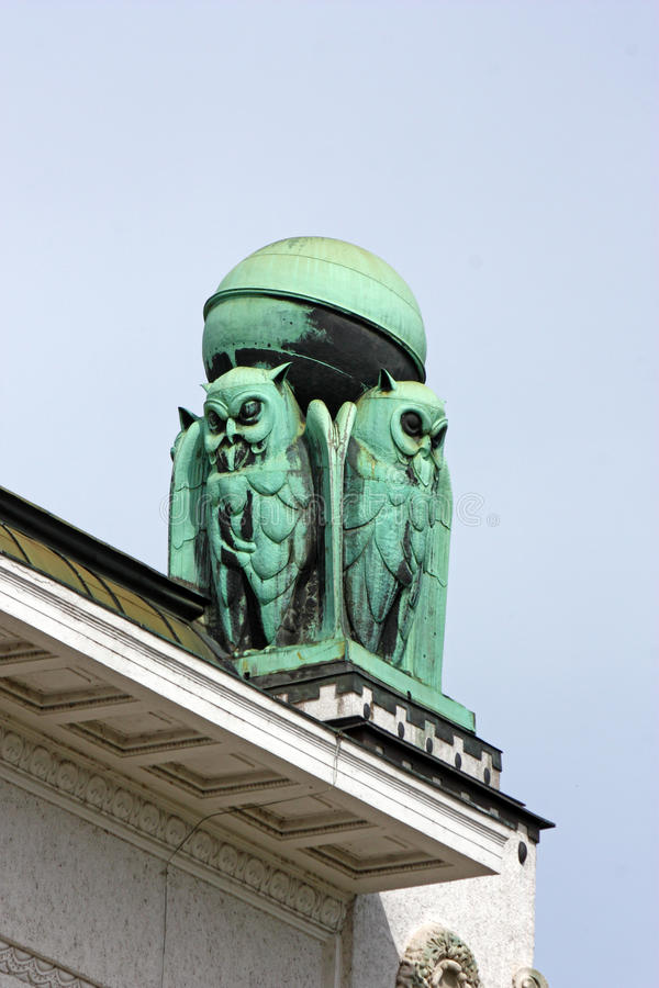 Ugglor symbol av vishet arkivfoton