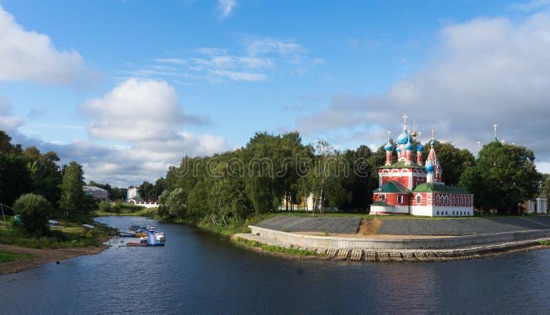 Uglich gränsmärke på Volgaet River royaltyfri foto