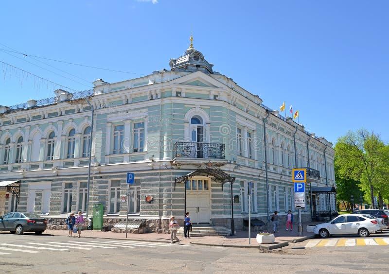Uglich, Russland Haus von Kaufleute Evreinov-Verwaltung und von Duma des Uglich-Stadtbezirks stockfoto