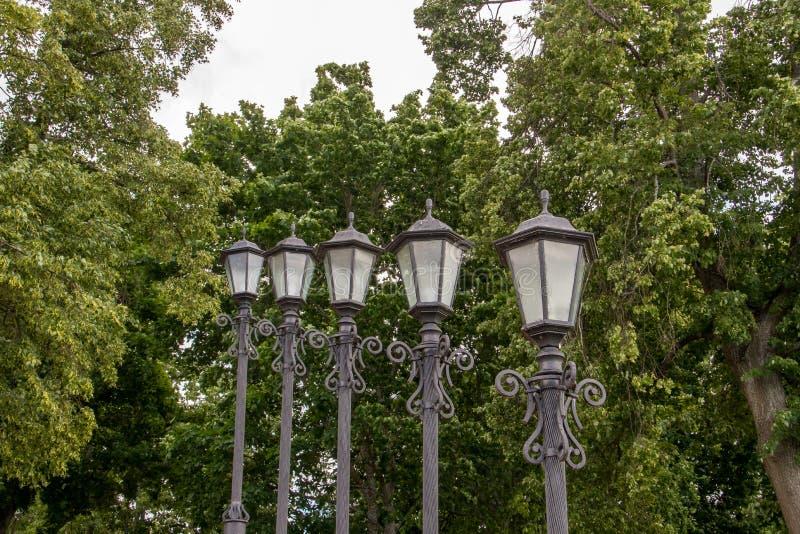 Uglich. The Volga River Embankment. A slender row of beautiful lanterns. Rhythm. Prospect. Travel; Golden ring royalty free stock photos