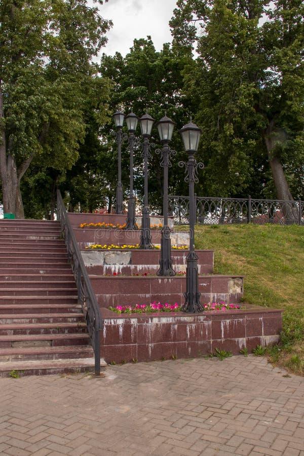 Uglich. The Volga River Embankment. A slender row of beautiful lanterns. Rhythm. Prospect. Travel; Golden ring stock photography