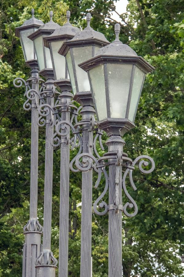 Uglich. The Volga River Embankment. A slender row of beautiful lanterns. Rhythm. Prospect. Travel; Golden ring royalty free stock image