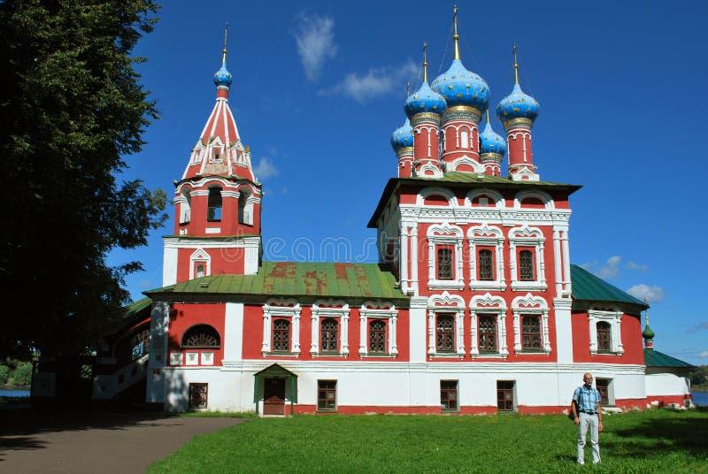 Uglich, Yaroslavl Oblast, Rusland: De Kerk van St Dmitry op het Bloed stock foto