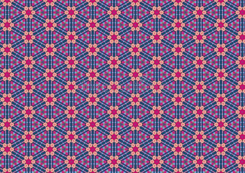 Ugly Blue Retro Floral Pattern Stock Photography