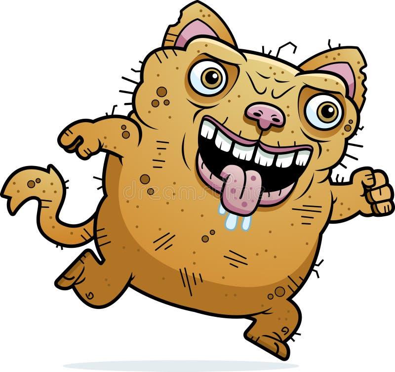 Ugly Cat Running royalty free illustration