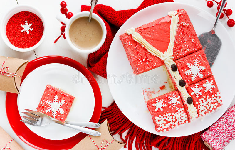 Ugly Christmas Sweater Cake , recipe for winter holiday party ,. Creative idea for Christmas New Year Xmas dessert food stock images