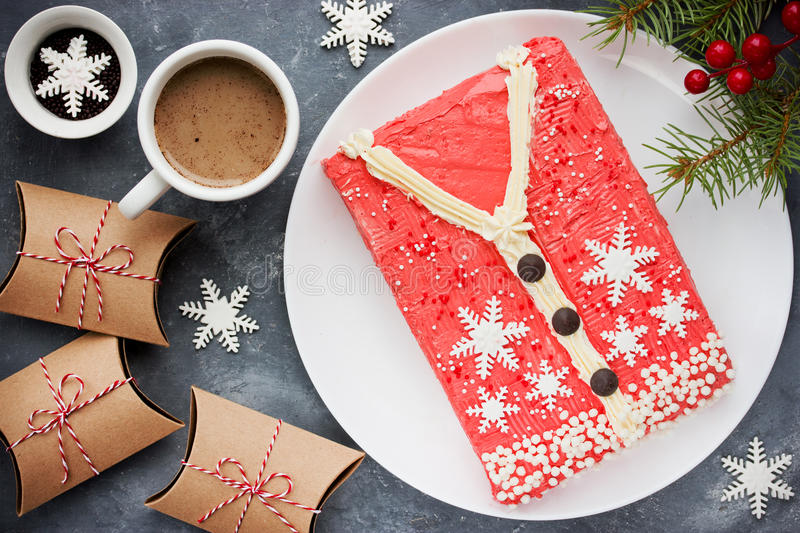 Ugly Christmas Sweater Cake , recipe for winter holiday party ,. Creative idea for Christmas New Year Xmas dessert food royalty free stock image